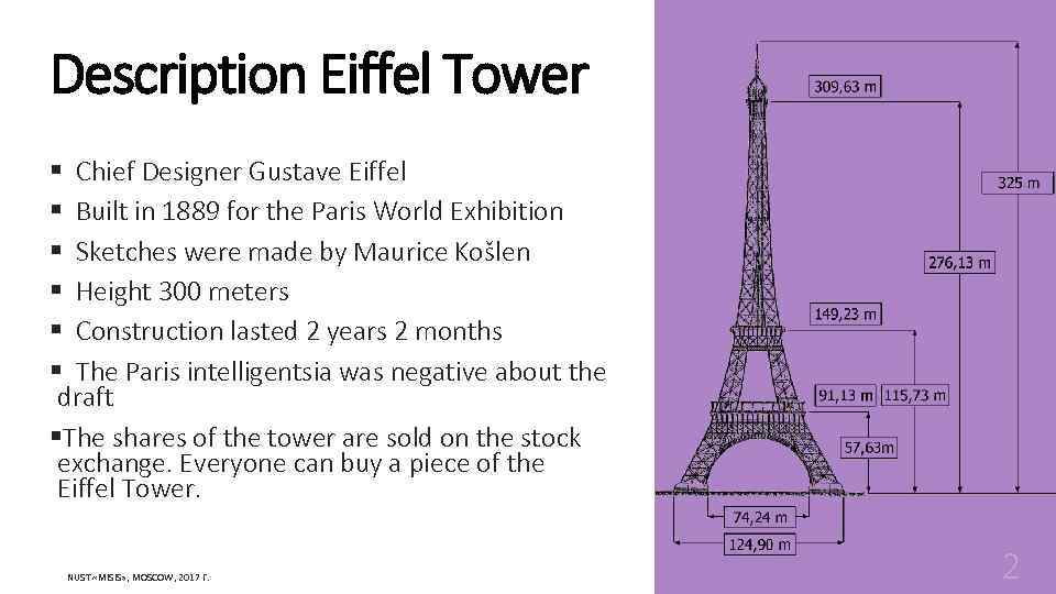 Description Eiffel Tower § Chief Designer Gustave Eiffel § Built in 1889 for the