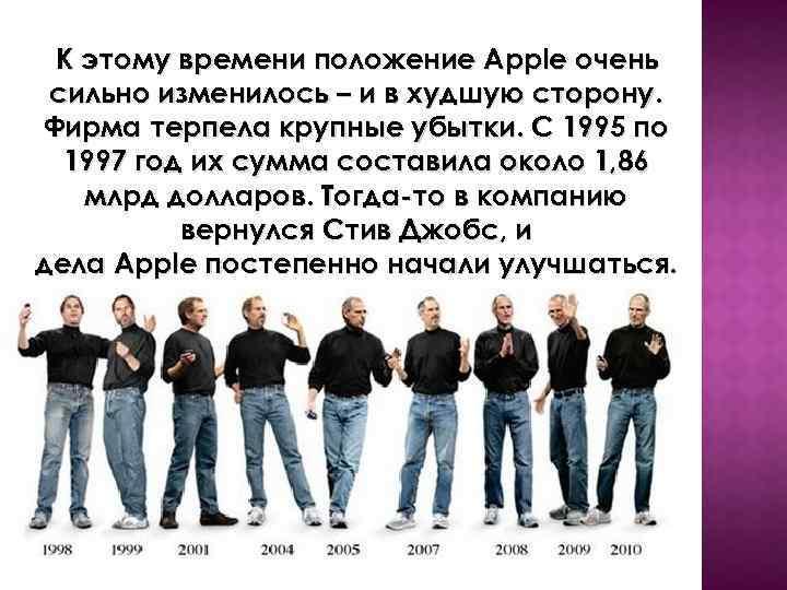 К этому времени положение Apple очень сильно изменилось – и в худшую сторону. Фирма