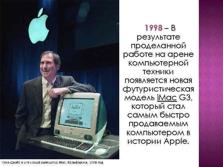 1998 – В результате проделанной работе на арене компьютерной техники появляется новая футуристическая модель