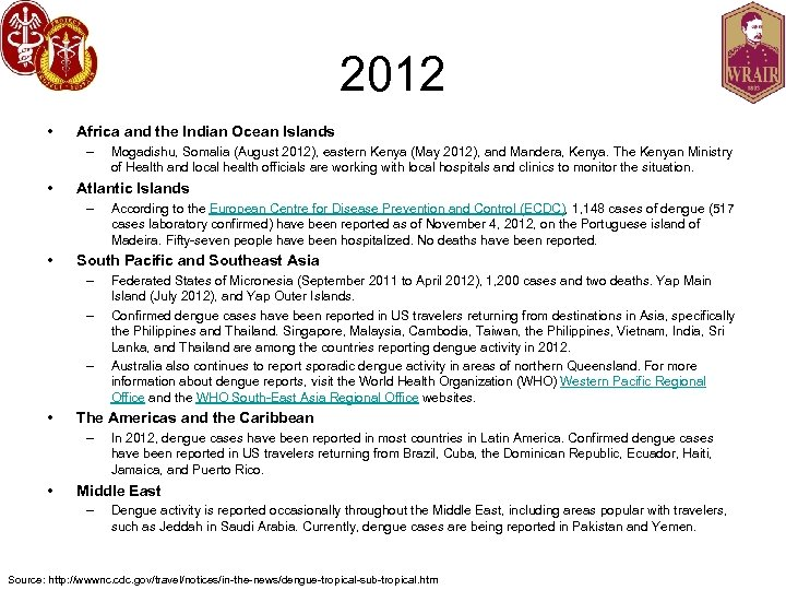 2012 • Africa and the Indian Ocean Islands – • Atlantic Islands – •