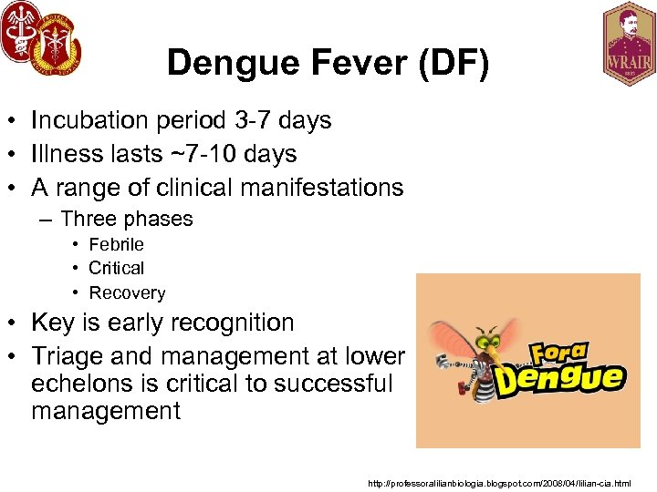 Dengue Fever (DF) • Incubation period 3 -7 days • Illness lasts ~7 -10