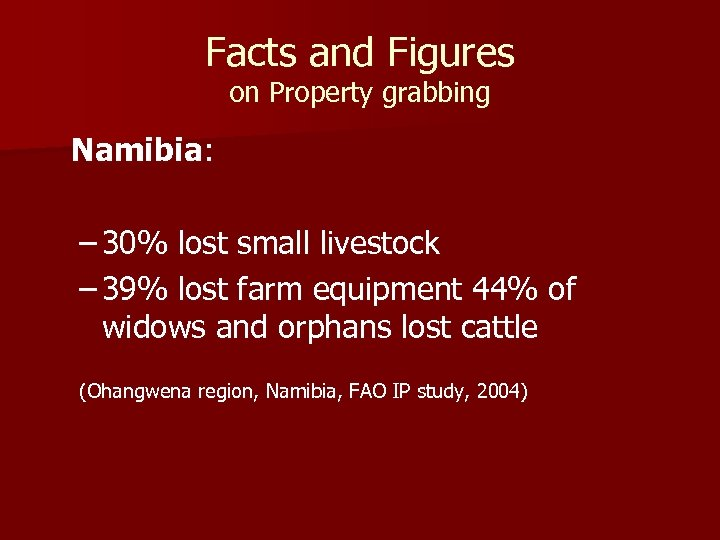 Facts and Figures on Property grabbing Namibia: – 30% lost small livestock – 39%