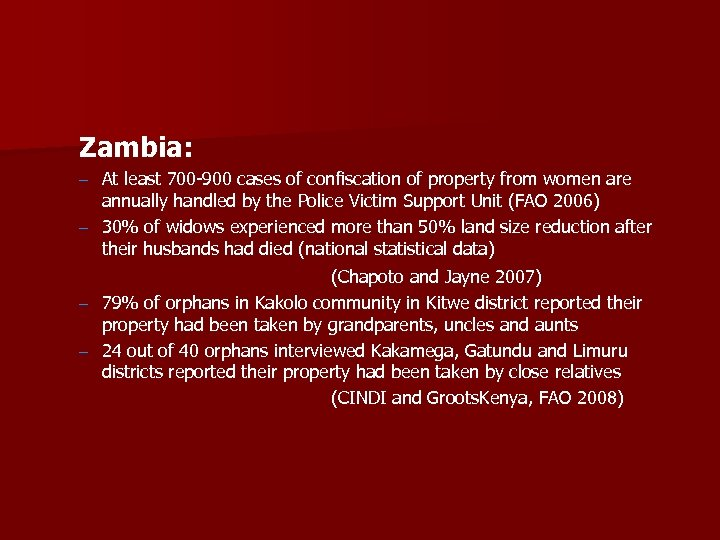 Zambia: – At least 700 -900 cases of confiscation of property from women are