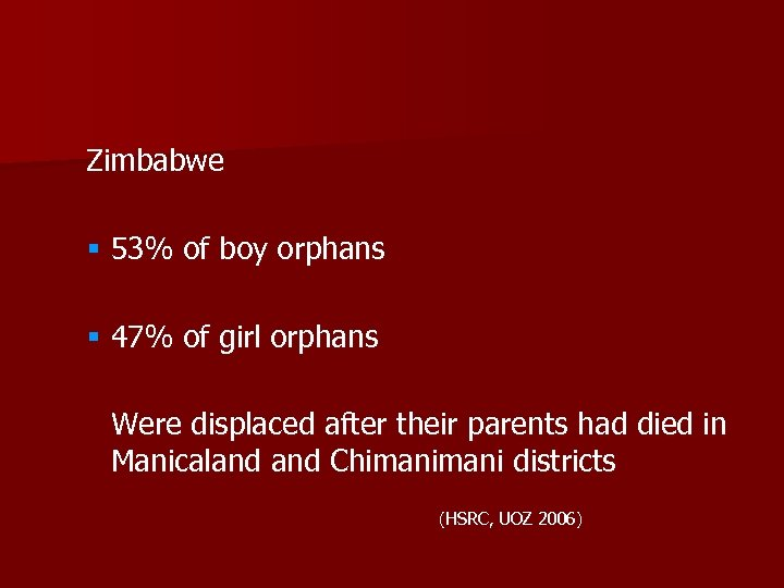 Zimbabwe § 53% of boy orphans § 47% of girl orphans Were displaced after