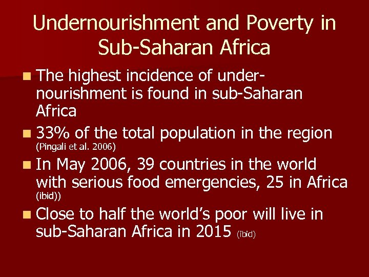 Undernourishment and Poverty in Sub-Saharan Africa n The highest incidence of undernourishment is found