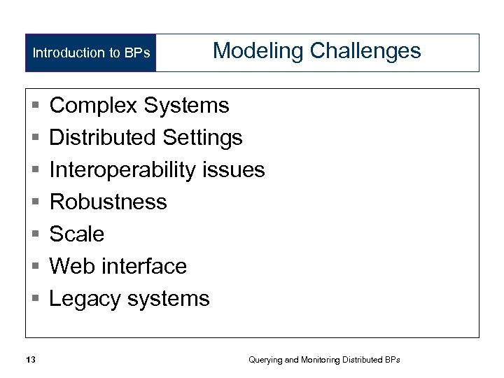Introduction to BPs § § § § 13 Modeling Challenges Complex Systems Distributed Settings