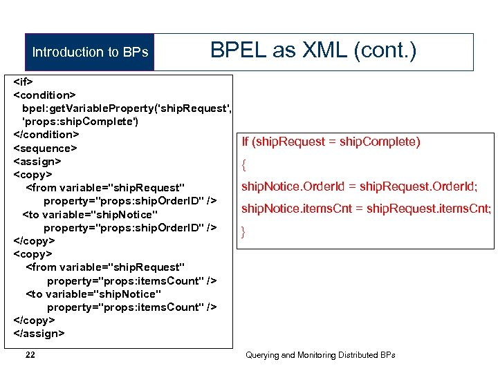 Introduction to BPs BPEL as XML (cont. ) <if> <condition> bpel: get. Variable. Property('ship.