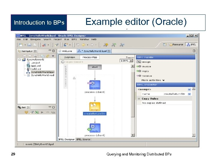 Introduction to BPs 29 Example editor (Oracle) Querying and Monitoring Distributed BPs