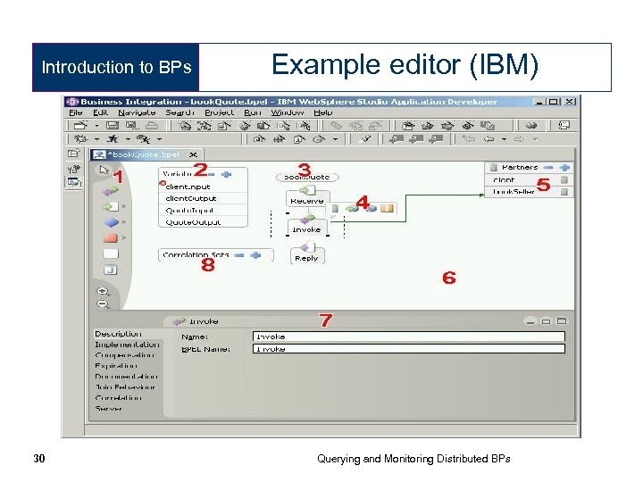 Introduction to BPs 30 Example editor (IBM) Querying and Monitoring Distributed BPs