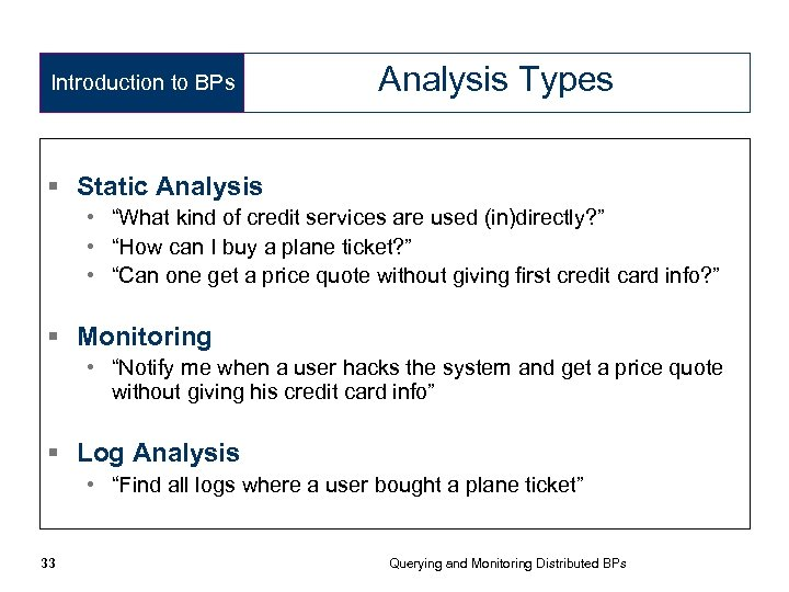 """Introduction to BPs Analysis Types § Static Analysis • """"What kind of credit services"""