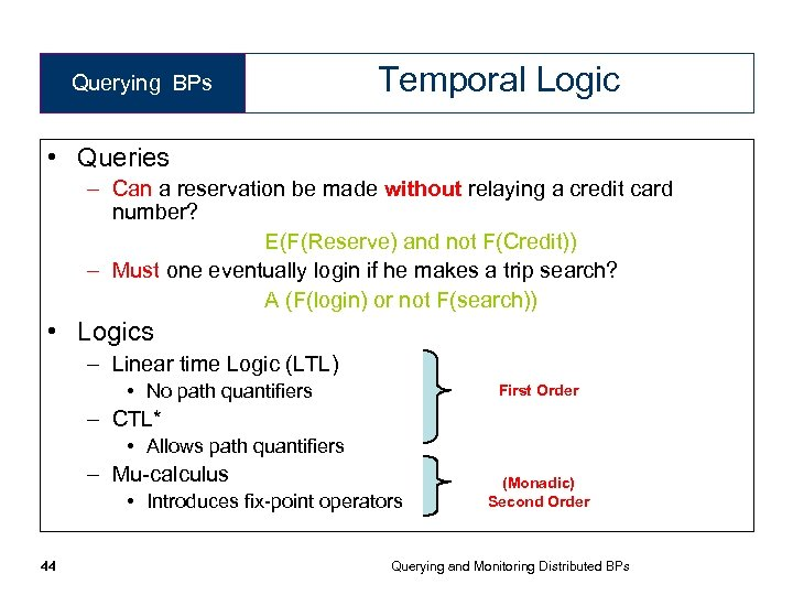 Querying BPs Temporal Logic • Queries – Can a reservation be made without relaying