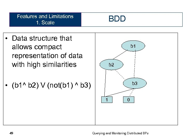 Features and Limitations 1. Scale BDD • Data structure that allows compact representation of