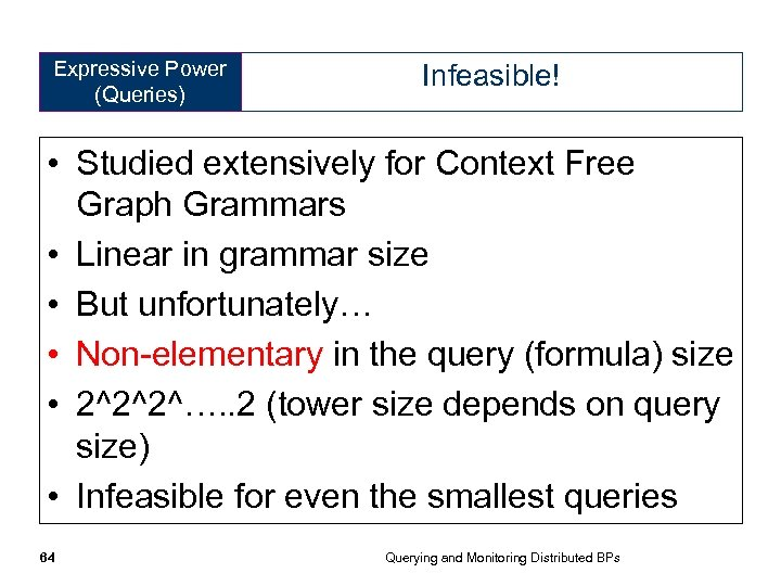 Expressive Power (Queries) Infeasible! • Studied extensively for Context Free Graph Grammars • Linear