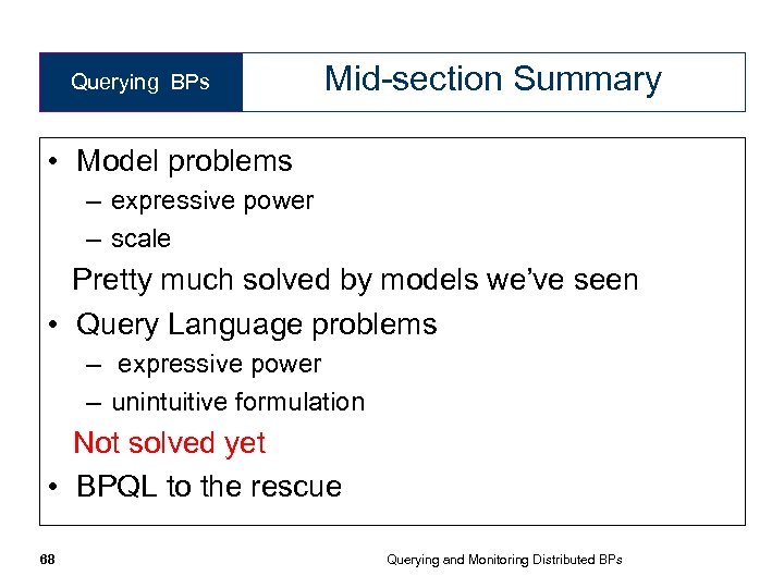 Querying BPs Mid-section Summary • Model problems – expressive power – scale Pretty much