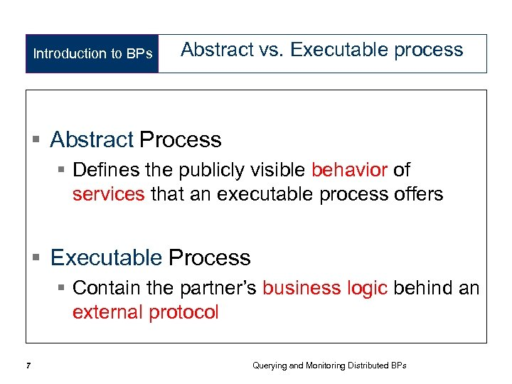 Introduction to BPs Abstract vs. Executable process § Abstract Process § Defines the publicly