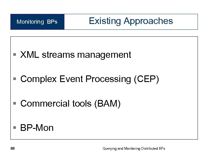 Monitoring BPs Existing Approaches § XML streams management § Complex Event Processing (CEP) §
