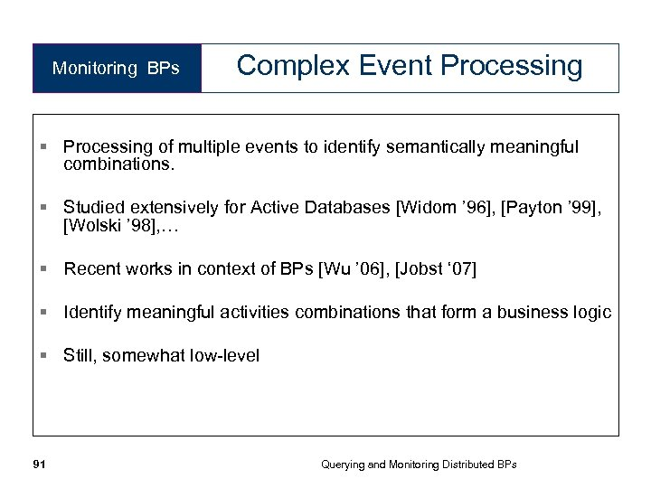 Monitoring BPs Complex Event Processing § Processing of multiple events to identify semantically meaningful