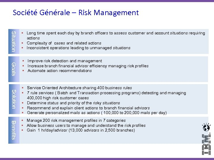 Société Générale – Risk Management Situation Goals Solution Benefits 21 § Long time spent