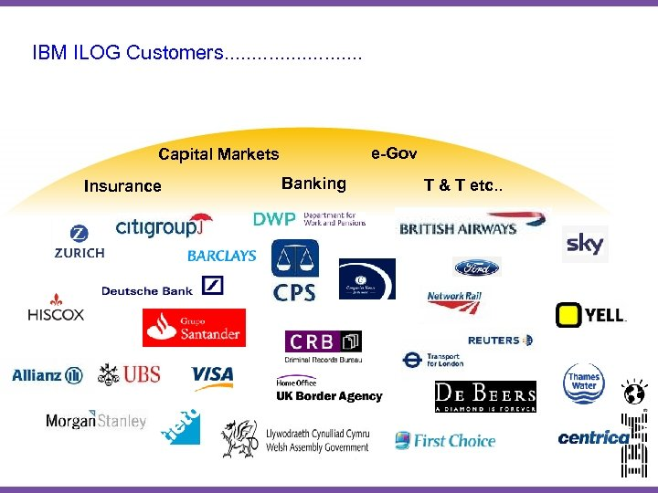 IBM ILOG Customers. . . e-Gov Capital Markets Insurance Banking T & T etc.