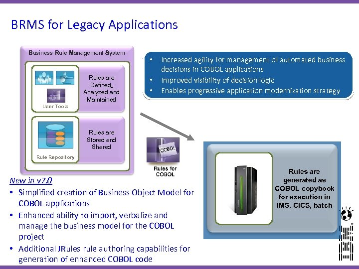 BRMS for Legacy Applications Business Rule Management System Rules are Defined, Analyzed and Maintained