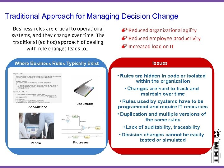 Traditional Approach for Managing Decision Change Business rules are crucial to operational systems, and