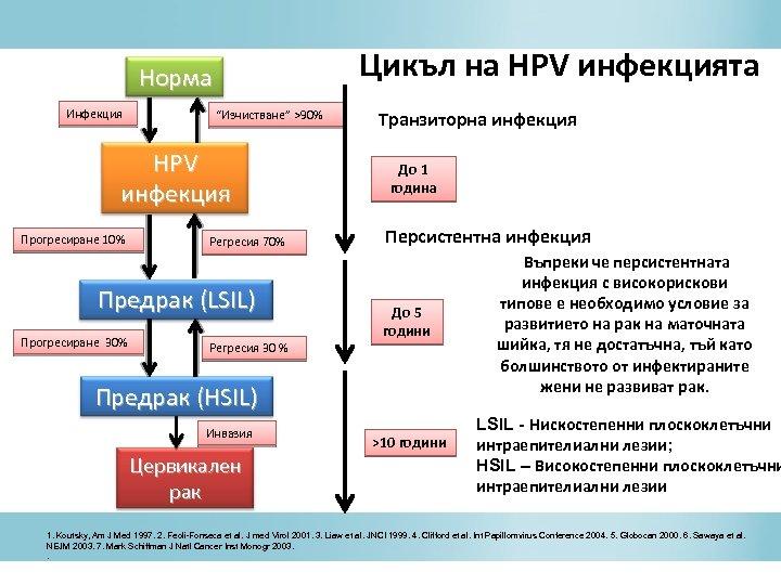 """Цикъл на HPV инфекцията Норма Инфекция """"Изчистване"""" >90% HPV инфекция Прогресиране 10% Регресия 70%"""