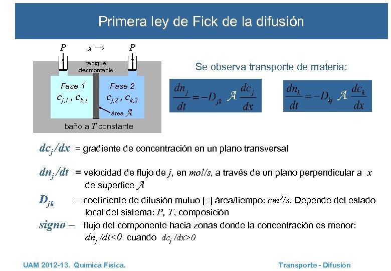 Primera ley de Fick de la difusión x→ P P tabique desmontable Se observa