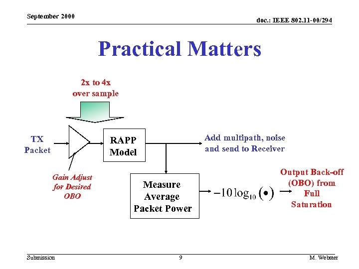 September 2000 doc. : IEEE 802. 11 -00/294 Practical Matters 2 x to 4