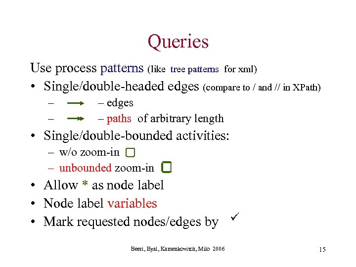 Queries Use process patterns (like tree patterns for xml) • Single/double-headed edges (compare to