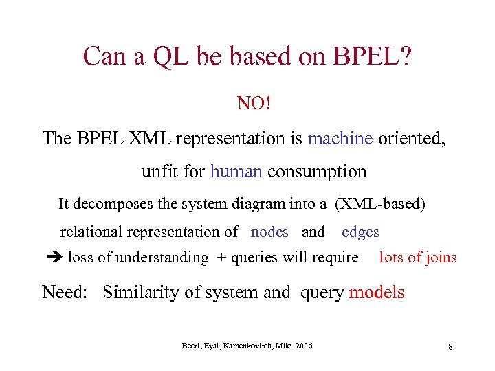 Can a QL be based on BPEL? NO! The BPEL XML representation is machine