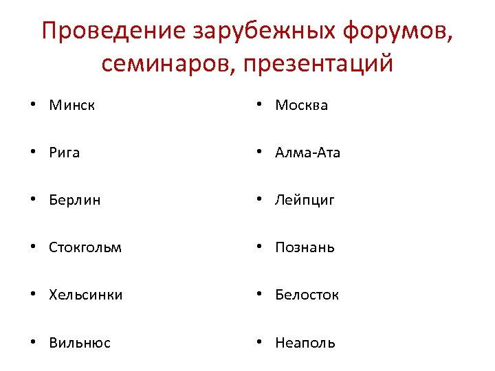 Проведение зарубежных форумов, семинаров, презентаций • Минск • Москва • Рига • Алма-Ата •