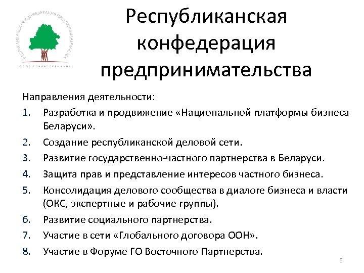 Республиканская конфедерация предпринимательства Направления деятельности: 1. Разработка и продвижение «Национальной платформы бизнеса Беларуси» .