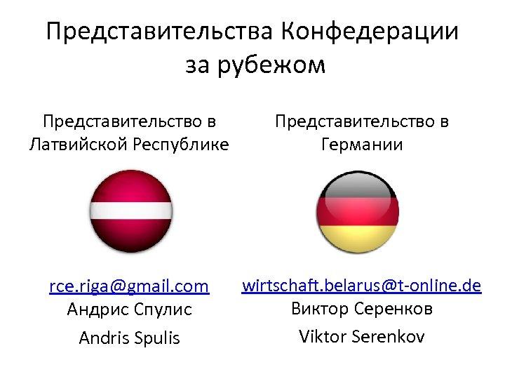Представительства Конфедерации за рубежом Представительство в Латвийской Республике Представительство в Германии rce. riga@gmail. com