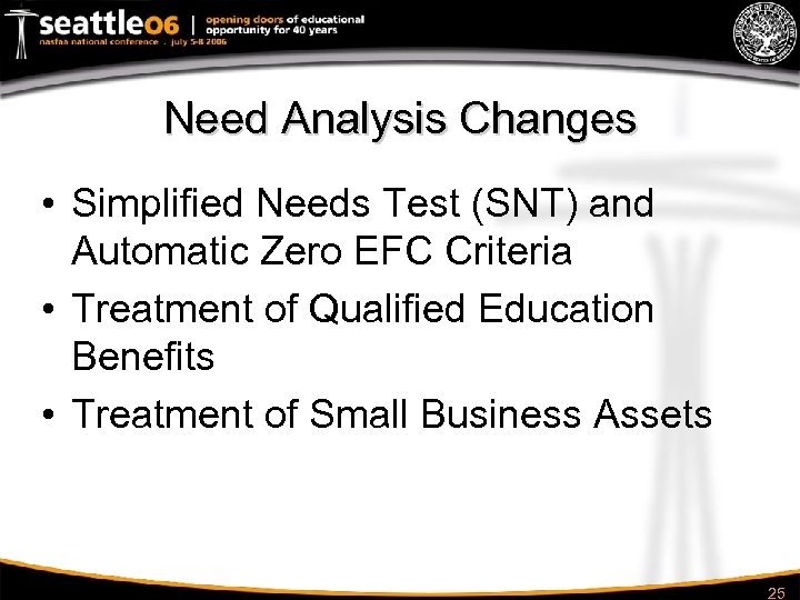 Need Analysis Changes • Simplified Needs Test (SNT) and Automatic Zero EFC Criteria •