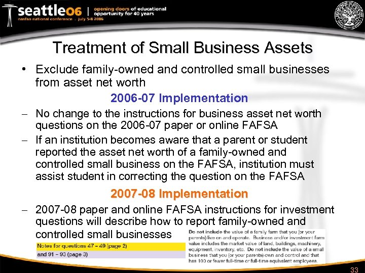 Treatment of Small Business Assets • Exclude family-owned and controlled small businesses from asset