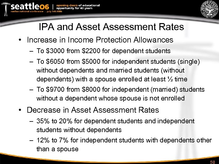 IPA and Asset Assessment Rates • Increase in Income Protection Allowances – To $3000