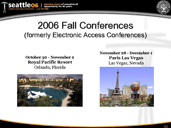 2006 Fall Conferences (formerly Electronic Access Conferences) October 30 - November 2 Royal