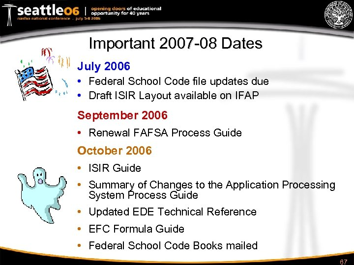 Important 2007 -08 Dates July 2006 • Federal School Code file updates due •
