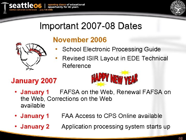 Important 2007 -08 Dates November 2006 • School Electronic Processing Guide • Revised ISIR