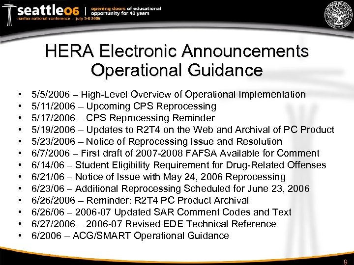 HERA Electronic Announcements Operational Guidance • • • • 5/5/2006 – High-Level Overview of