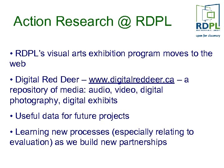 Action Research @ RDPL • RDPL's visual arts exhibition program moves to the web