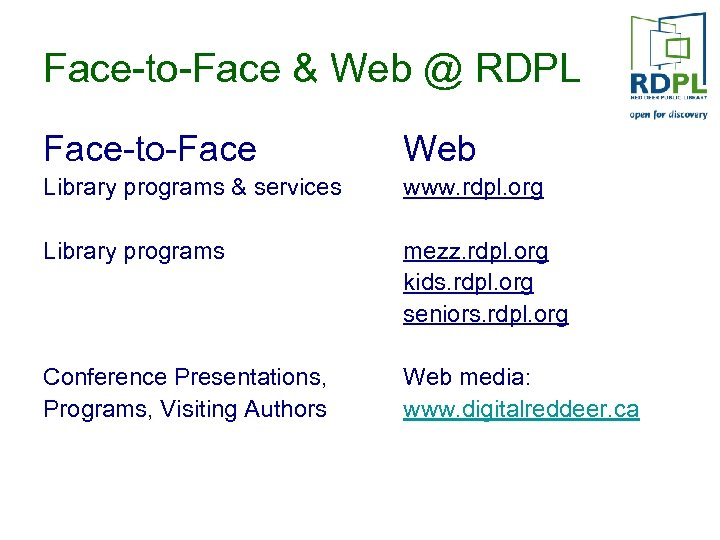 Face-to-Face & Web @ RDPL Face-to-Face Web Library programs & services www. rdpl. org