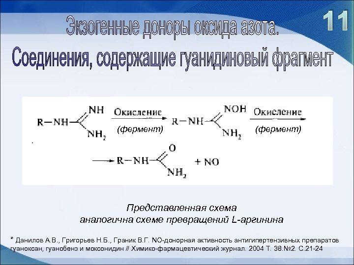 11 (фермент) Представленная схема аналогична схеме превращений L-аргинина * Данилов А. В. , Григорьев
