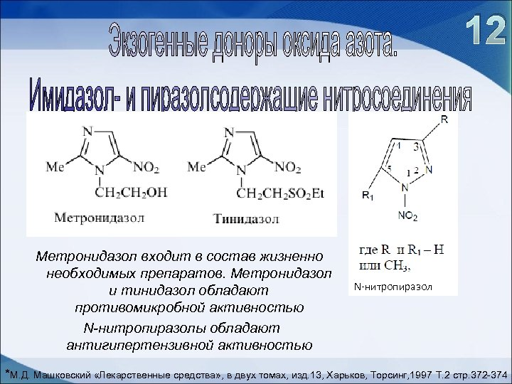 12 Метронидазол входит в состав жизненно необходимых препаратов. Метронидазол и тинидазол обладают противомикробной активностью