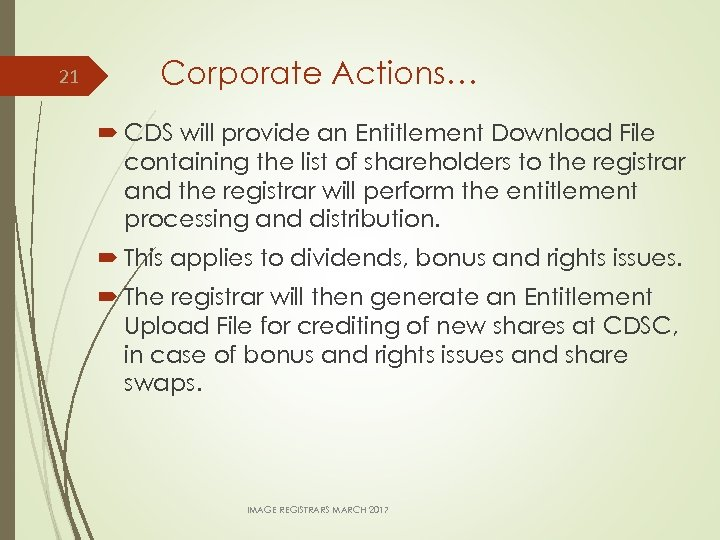 21 Corporate Actions… CDS will provide an Entitlement Download File containing the list of