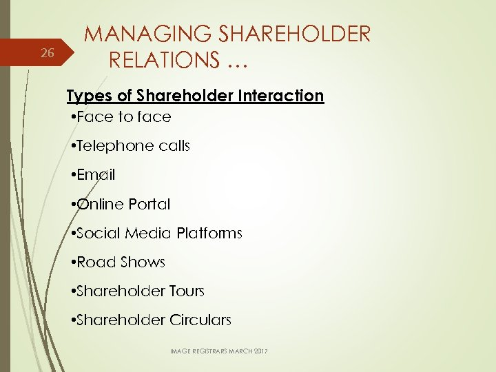 26 MANAGING SHAREHOLDER RELATIONS … Types of Shareholder Interaction • Face to face •
