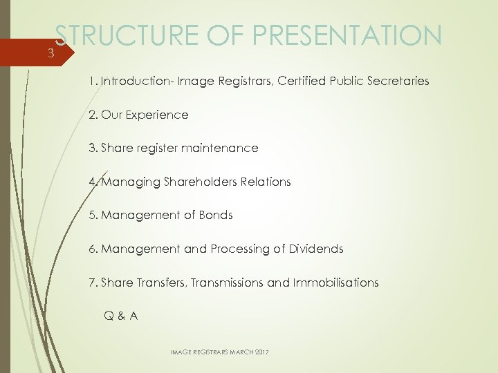 STRUCTURE OF PRESENTATION 3 1. Introduction- Image Registrars, Certified Public Secretaries 2. Our Experience
