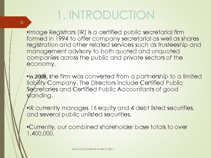 4 1. INTRODUCTION • Image Registrars (IR) is a certified public secretarial firm formed