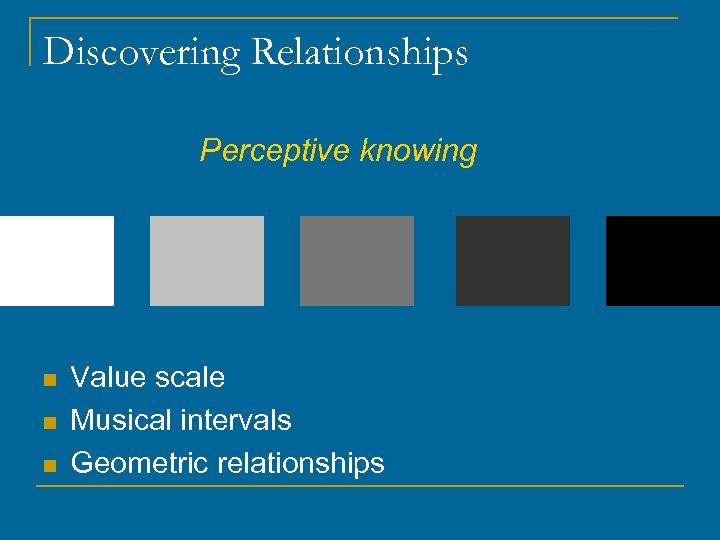 Discovering Relationships Perceptive knowing n n n Value scale Musical intervals Geometric relationships