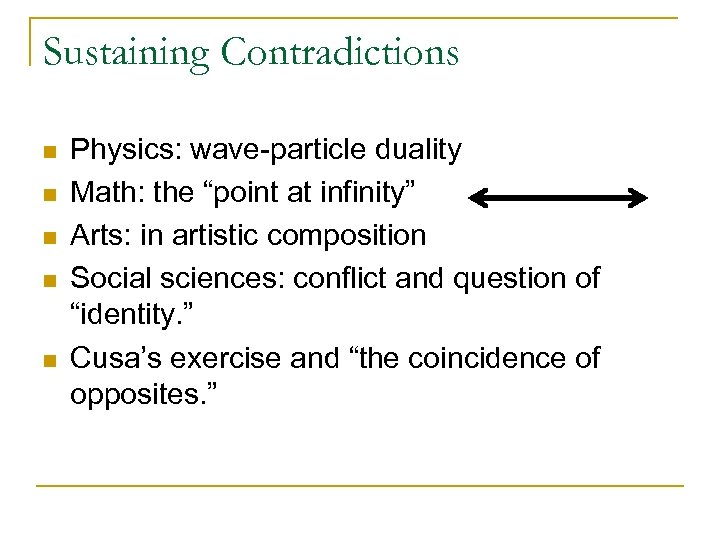 """Sustaining Contradictions n n n Physics: wave-particle duality Math: the """"point at infinity"""" Arts:"""